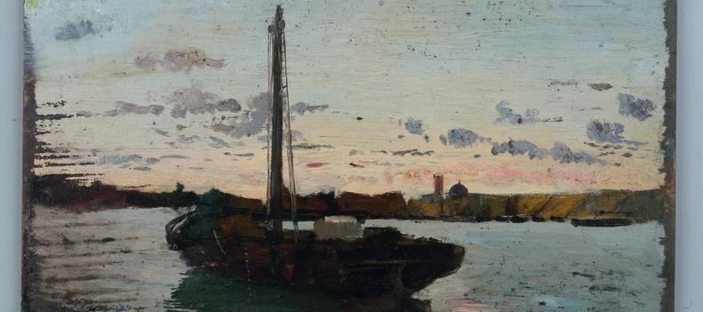 Barco a la puesta del sol -1895-