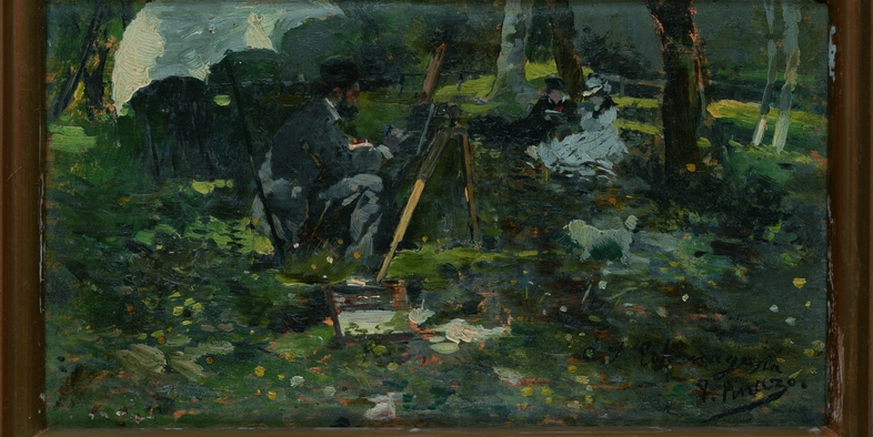 Pintando en el parque
