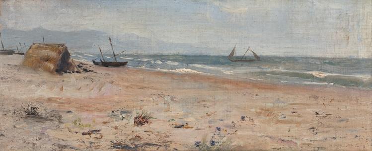 Playa con cabaña