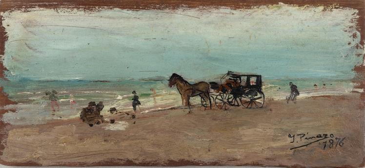 Playa con coche de caballos, 1876