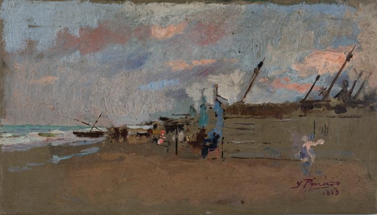 Playa y barcas, 1883
