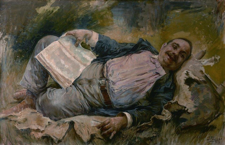 Sancho leyendo el Quijote -1899-