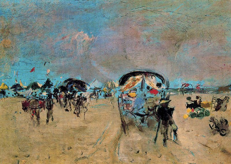 """""""Carros y tartanas"""", quadre de Pinazo"""